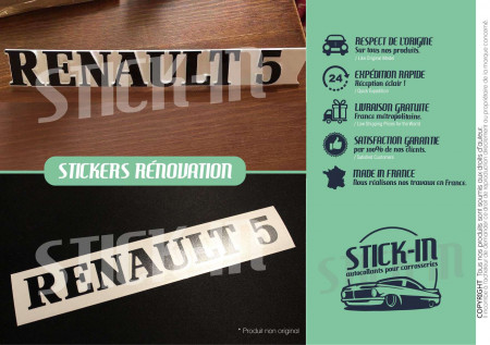 "Renovation Logo Badge Rear Monogram Sticker ""Renault 5"" GT Turbo R5 GTT Black"