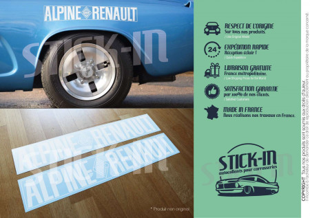 2 Stickers Autocollants Alpine Renault A110 Berlinette 1600 Conforme Origine Ailes Arrière