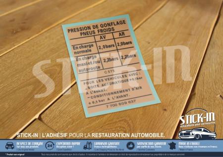 "Autocollan Stickers Renault Clio 16V Cold tire inflation pressure ""Pression de Gonflage Pneus Froids"" 1991 1992"