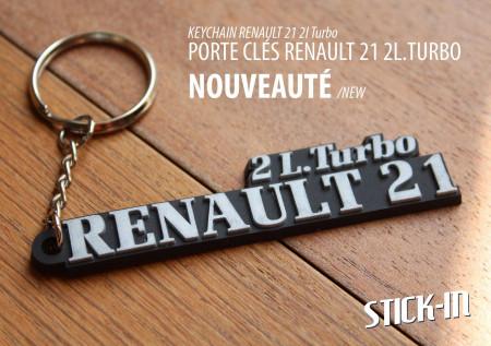 Porte clés Renault 21 2L. Turbo PVC souple monogramme logo R21